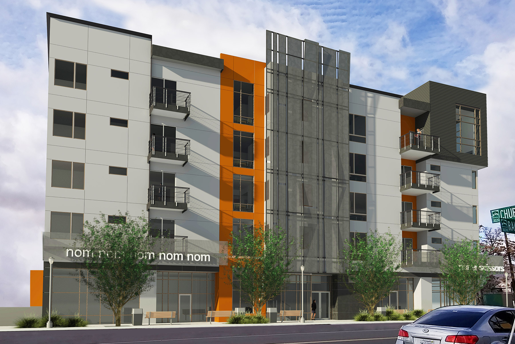 A five-story, mixed-use residential building to be constructed on the west side of Ralston Street. Located between the City of Reno ReTRAC train trench to the north and West Second Street to the south.